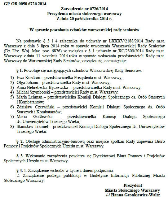 ZARZĄDZENIE NR 6726-2014 - Warszawska Rada Seniorów